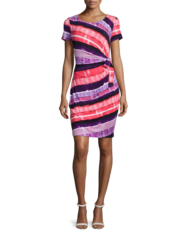 Gabriella Short-Sleeve Printed Wrap Dress