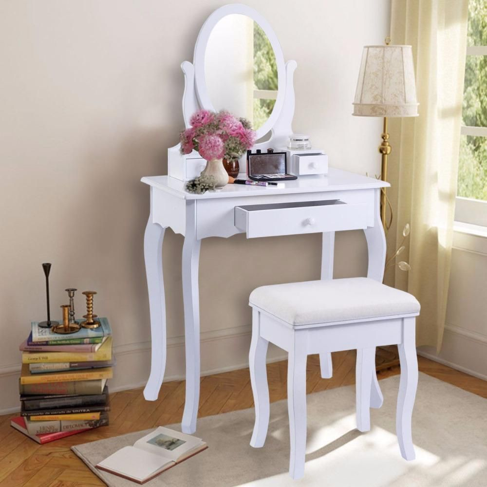 Golpus White Vanity Table Jewelry Makeup Desk And Bench Dresser