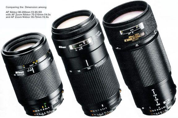 Comparing The Dimension Among Af Nikkor 80 200mm F 2 8s Ed With Af Zoom Nikkor 70 210mm F 4 0s And Af Zoom Nikkor 35 70mm F 2 8 Nikon Lenses Zoom Lens Lenses
