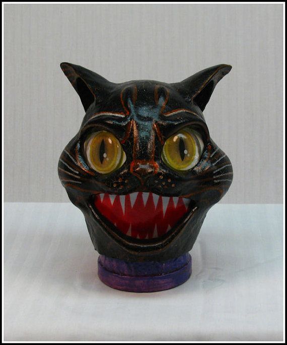 Handmade OOAK Vintage Inspired Halloween Black Cat  Candy Container Lantern Combo on Etsy, $87.50
