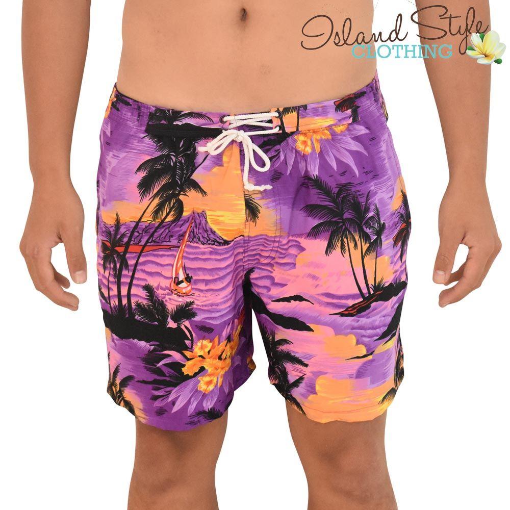 Purple hawaiian printed shorts