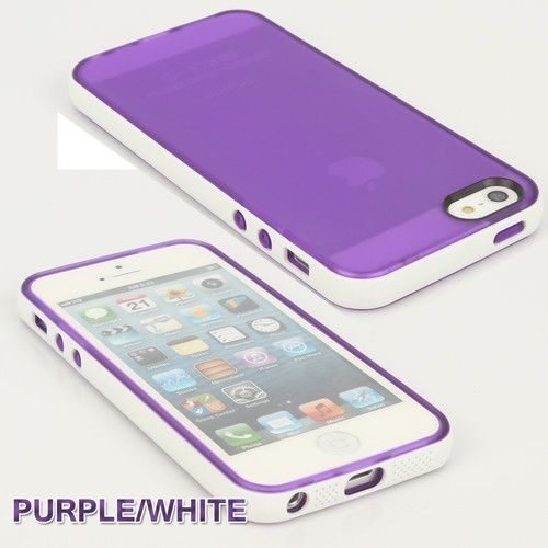 Soft Purple Hybrid Hard Phone Cover Case For iPhone 5+Screen Protector