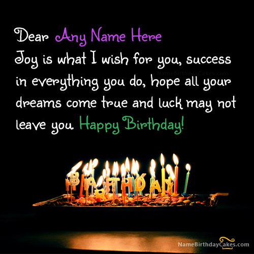 Write Name On Lovely Birthday Wish Picture Hbd Wishes