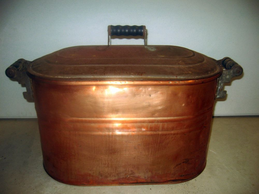 Antique vtg COPPER BOILER POT With LID Firewood Holder Wash Tub planter kettle #Americana