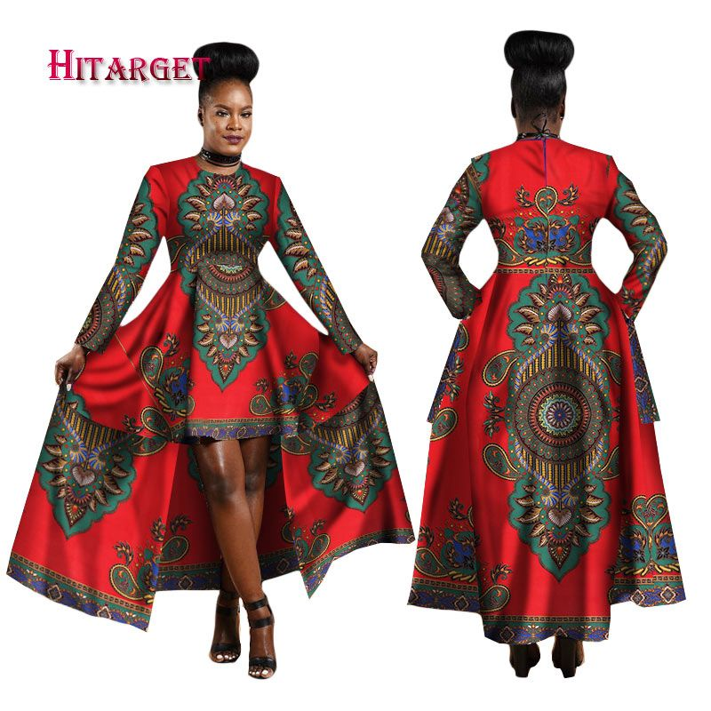bfabc0f949 Hitarget 2018 African Dresses for Women Dashiki Cotton Wax Print Batik Sexy Long  Dress for Femal