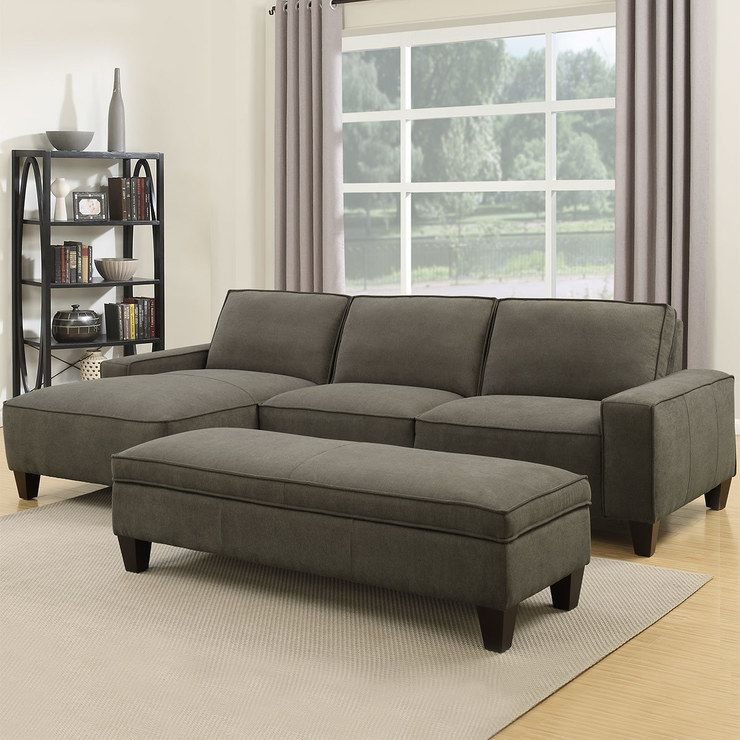 Orion 2 Piece Grey Fabric Sofa Chaise With Storage Ottoman Sillones Living