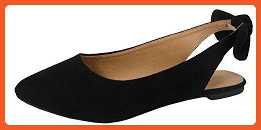 5f5a3eddd446a Jynx Women's Slingback Bow Pointed Toe Fashion Ballet Flat Mule (6.5 ...