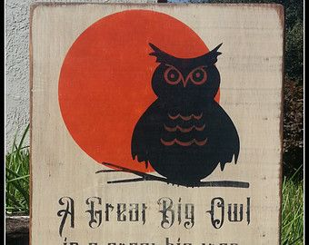 Halloween Sign, Owl, Halloween, Wooden Signs, Subway Art, Typography, Primitive, Distressed SIgns