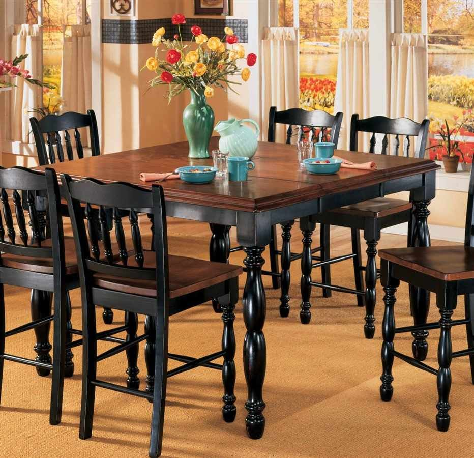 Butterfly leaf counter height table black cherry stain for Black kitchen table set