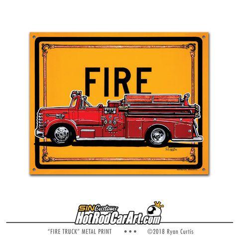 1958 Diamond T Van Pelt Fire Truck - Metal Street Sign | Fire trucks ...