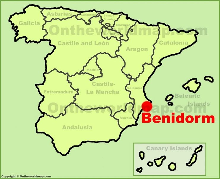 Map Of Spain Majorca.Benidorm Location On The Spain Map Benidorm Spain Map Of Spain