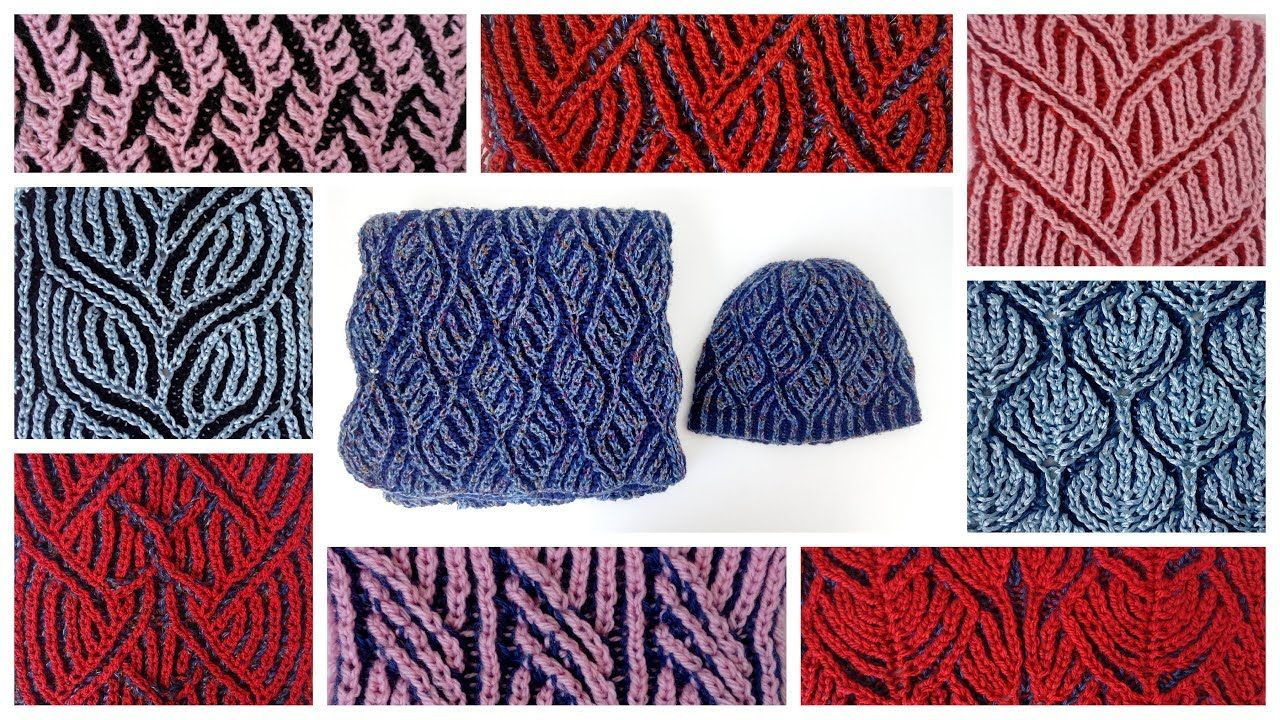 Compilation of two-color brioche stitch knitting patterns: charts ...