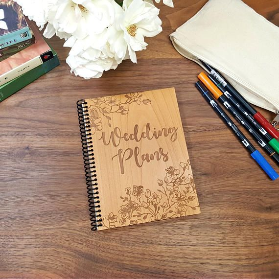 Wood Notebook  Wedding Plans With Cherry Blossom Borders  Laser