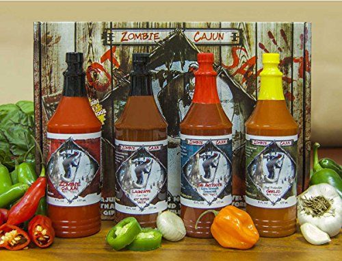 Zombie Cajun Hot Sauce Gourmet Gifts Basket Set, Includes Four 6 oz Bottles of Louisiana Top Seasonings Sauces - Garlic, Jalapeno, Habanero, and Cayenne Pepper, Plus a Free Zombies Book