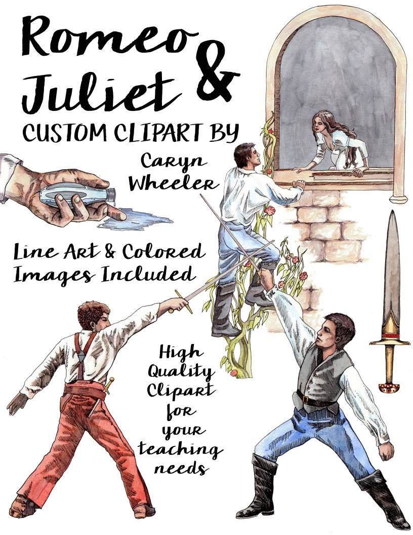 william shakespeare s romeo and juliet clip art package pinterest rh pinterest co uk romeo and juliet characters clipart romeo and juliet black and white clipart
