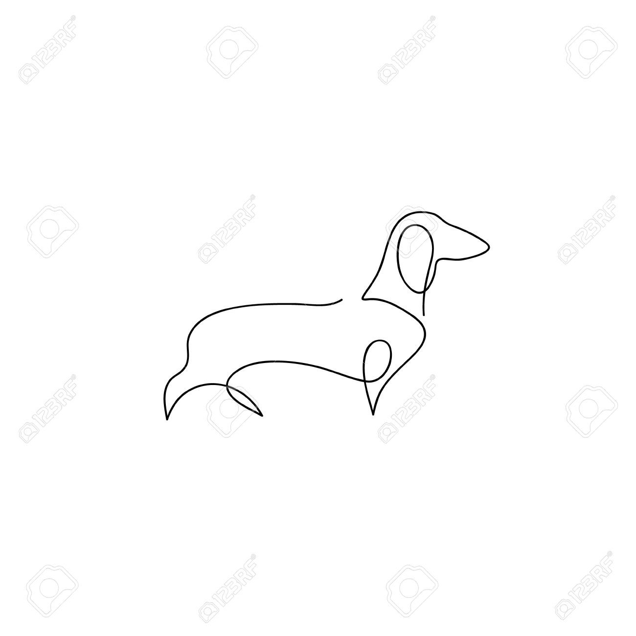 1300x1300 One Line Dog Design Silhouette Dachshund Hand Drawn Minimalism Dog Line Drawing Line Art Drawings Logo Design Trends