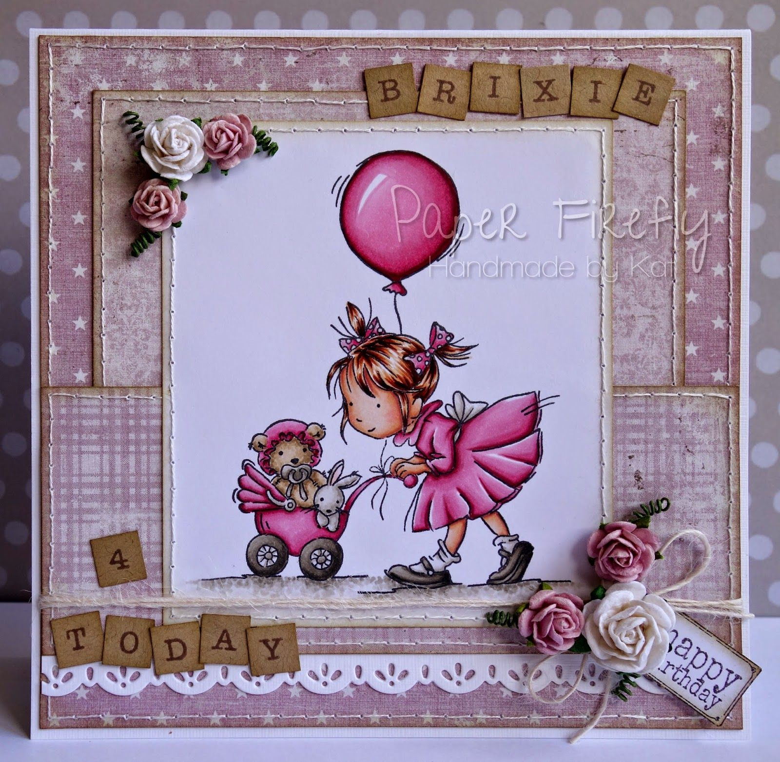 Pink and girly birthday card featuring uafternoon strollu stamp by