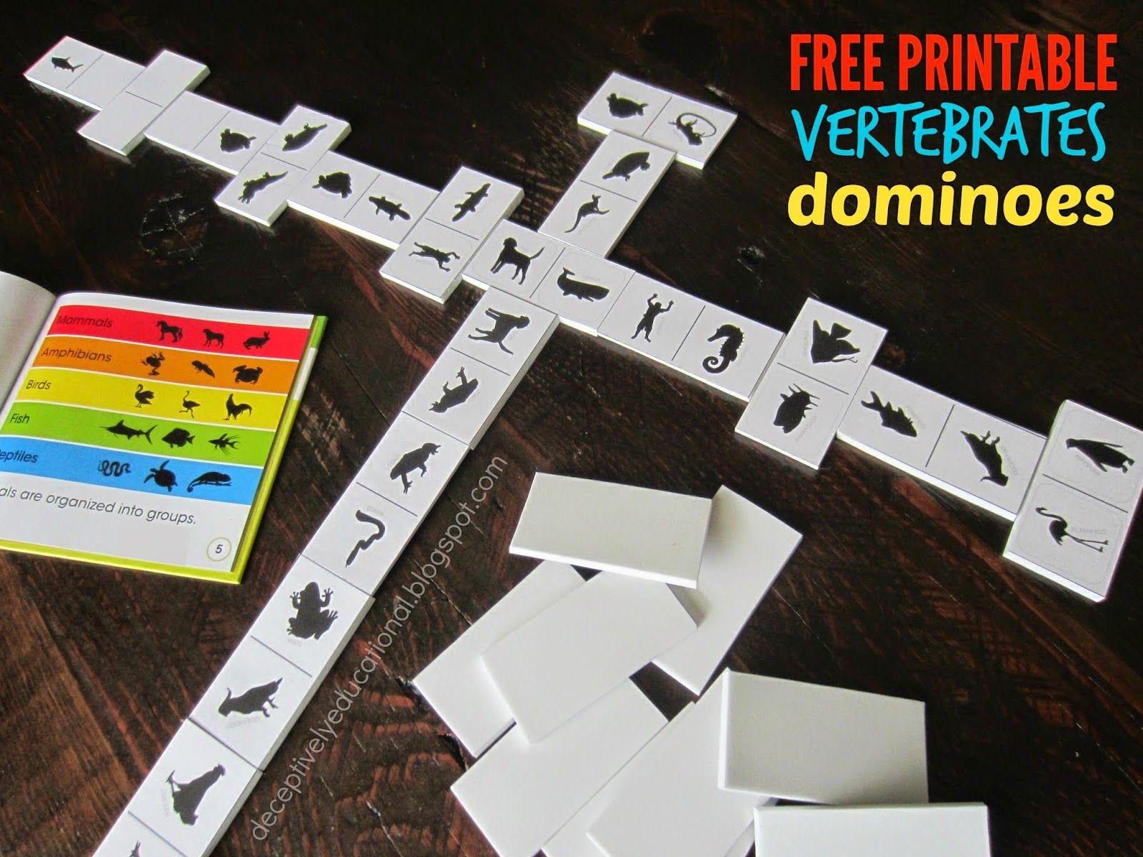 Free Printable Vertebrates Dominoes With Images