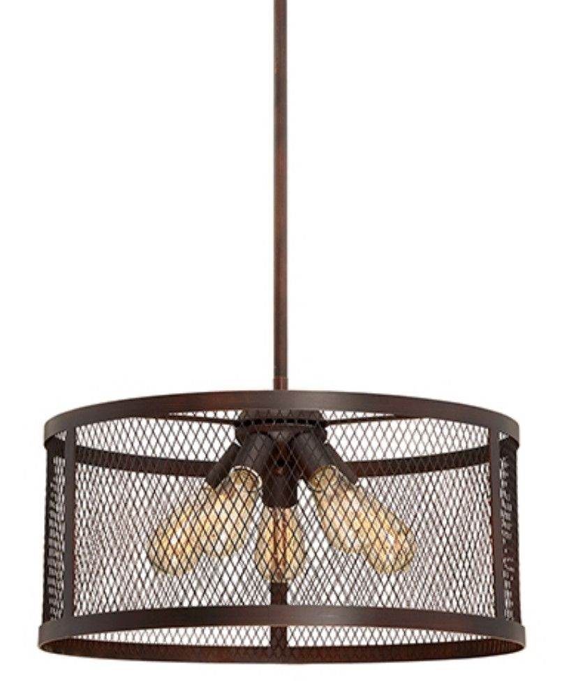 Akron Brushed Bronze Wire Mesh Drum Pendant Light 20 Wx46 H Drum