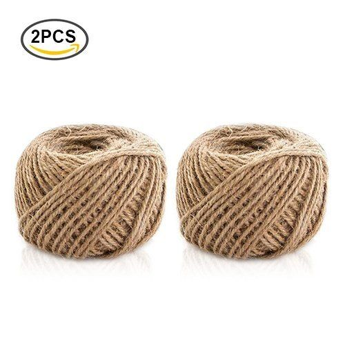 400ft Jute Twine Natural Jute Rope String Thin Rope for Gift Box Packing Decorating Gardening 2 ply