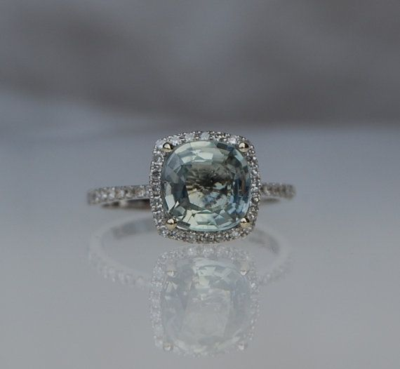 2ct Seafoam blue green color change square cushion sapphire diamond ring  14k white gold
