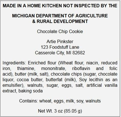 A Sample Cottage Food Label From The State Of Michigan. Cottage Food Laws  Are Individual
