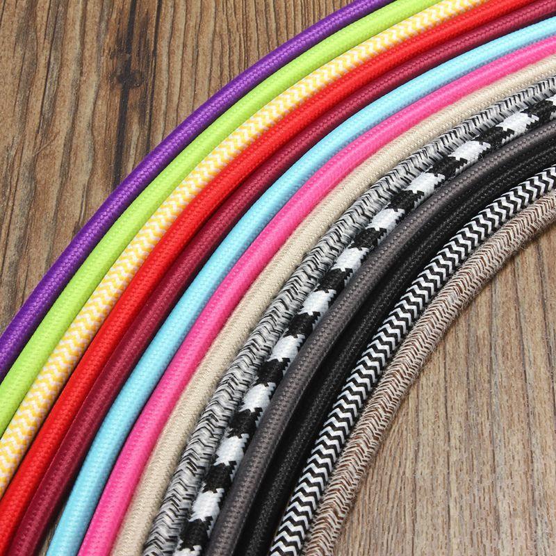 2 M 2 Cordon Couleur Vintage Twist Tressé Tissu Câble De Lumière - couleur des fils electrique