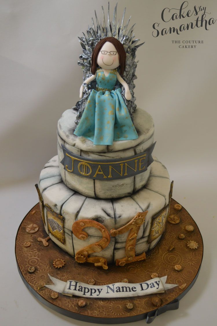 Game Of Thrones 21st Birthday Cake With Model Of The Birthday Girl