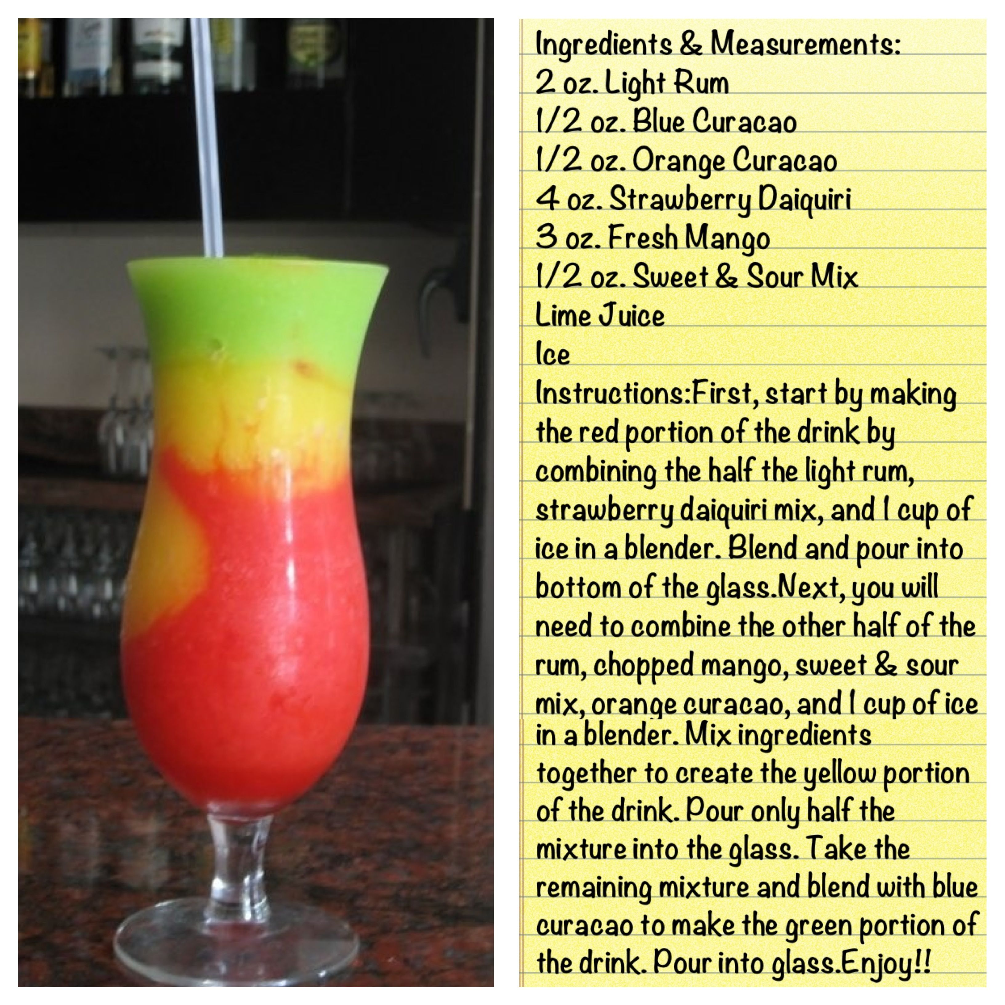 Bob marley daiquiri ladies night pinterest bob for Fun alcoholic drink recipes