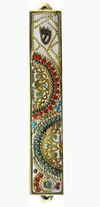 Mezuzah, Handmade Art with Swarovski crystal