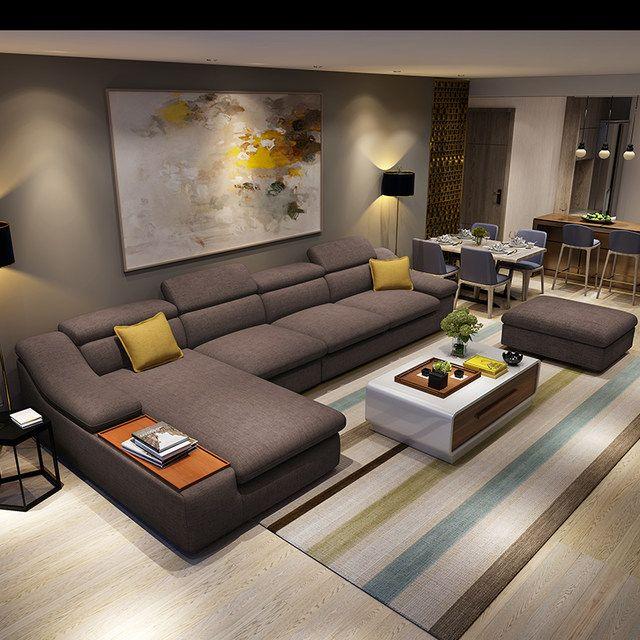Mob lia da sala de estar sof s de tecido em forma de l de for Divani mobilia