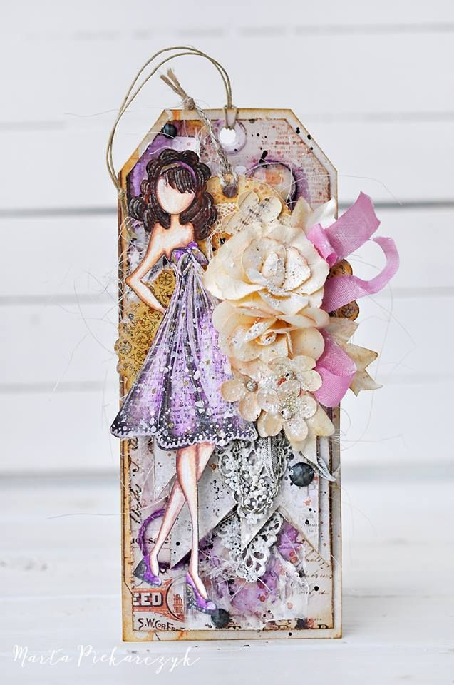Introducing The Kate Doll Stamp By Julie Nutting All Decked Out In Purple Tag By The Talented Marta Piekarczyk Reade Handmade Tags Tag Art Prima Paper Dolls