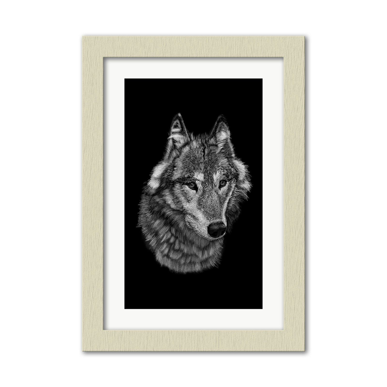 Photo of Wolf on Black Wall Art Print – A3 / Brushed Ivory