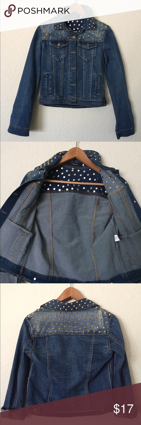 Studded Jean Jacket 100% Polyester • Kind of short, can be considered a 'crop top' jacket • Pockets on inside & out • Never Worn • Great Condition • Non-Smoking home • Forever 21 Jackets & Coats Jean Jackets