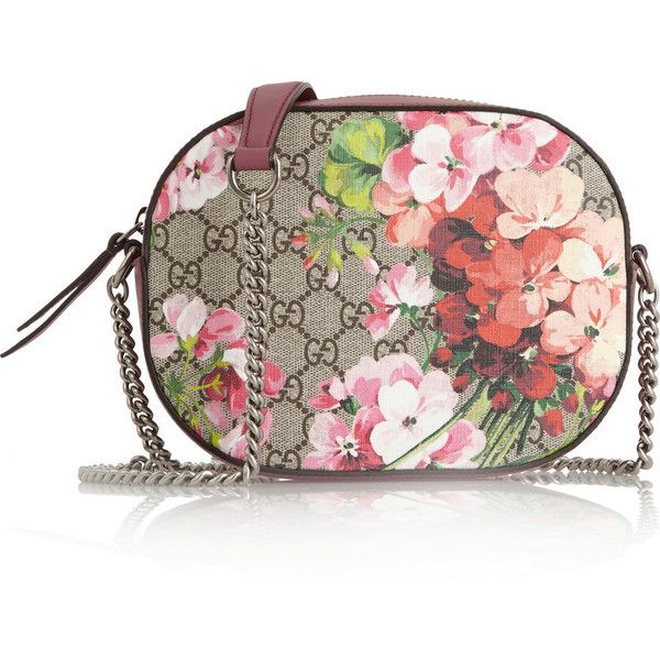 996a0c4b4a4e Gucci Blooms GG Supreme leather-trimmed printed coated canvas shoulder...  ( 900) ❤ liked on Polyvore featuring bags, handbags, shoulder bags, pink,  ...