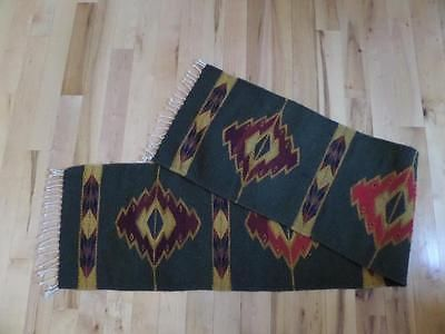 vintage-INDIAN-Woven-Native-American-Runner-Rug-Blanket-SOUTHWEST-Wool