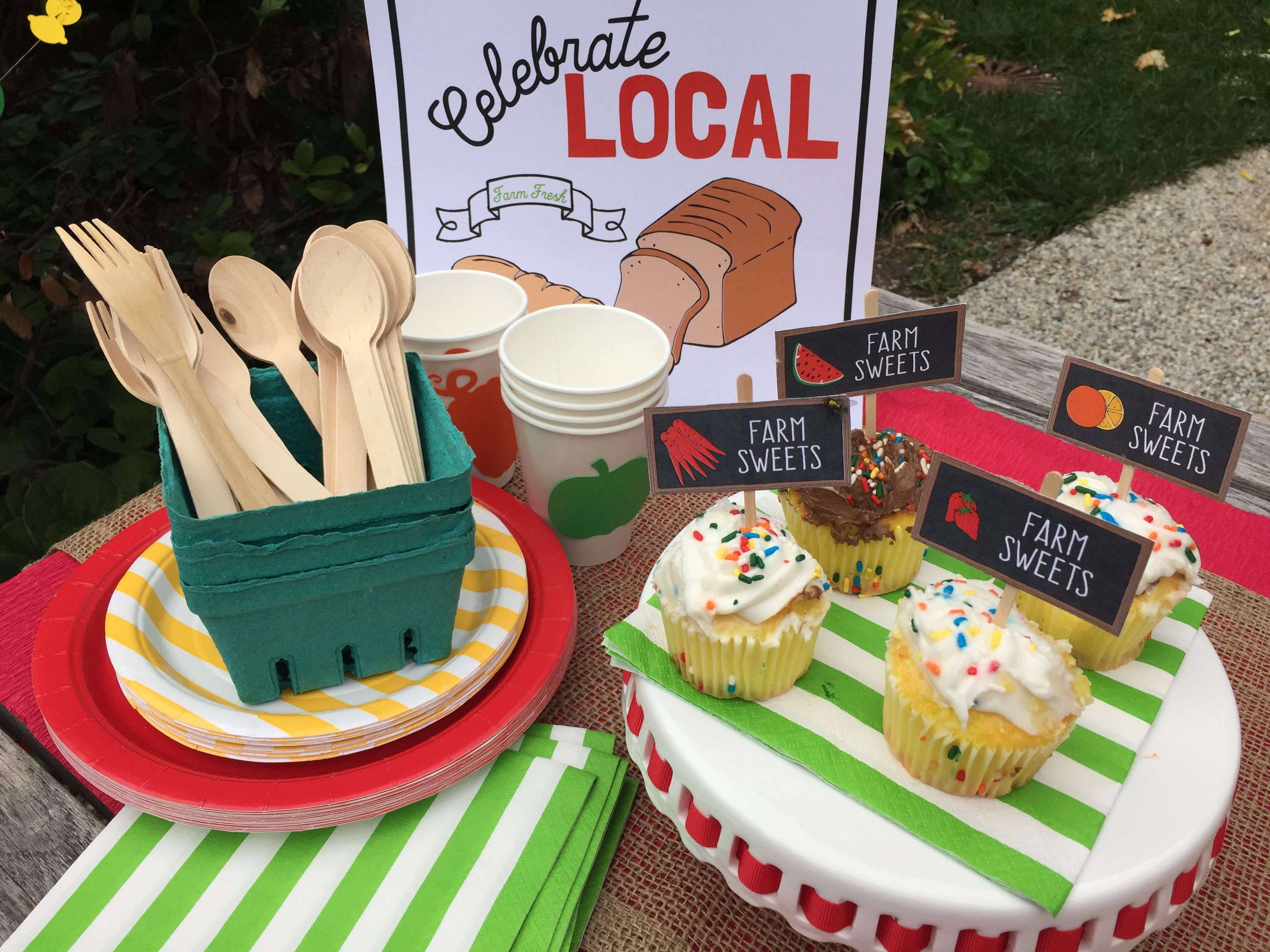 The weekly Saturday walk to the Farmer's Market has become a tradition for many kids.  Share the experience with the Farm Fresh party kit, which features old-timey produce signs, a creative