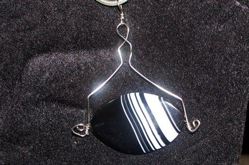 Black and White agate with silver frame | MarquisCreations - Jewelry on ArtFire
