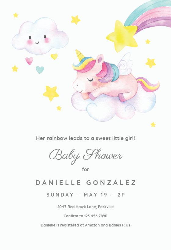 Sweet Unicorn Baby Shower Invitation Template Free Greetings Island Unicorn Baby Shower Free Baby Shower Invitations Baby Shower Invitation Templates