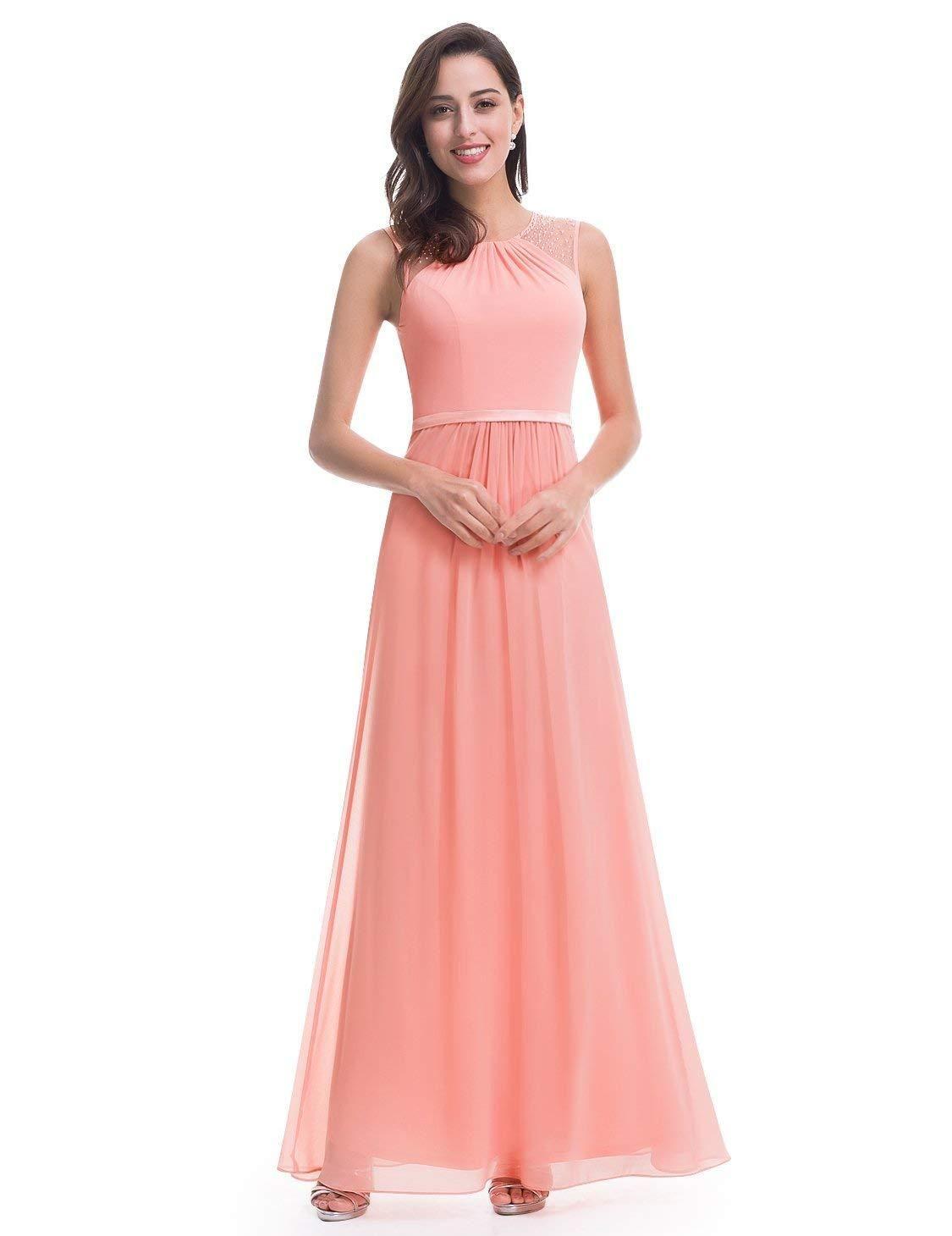 Women elegant padded sleeveless long chiffon bridesmaids maxi dress