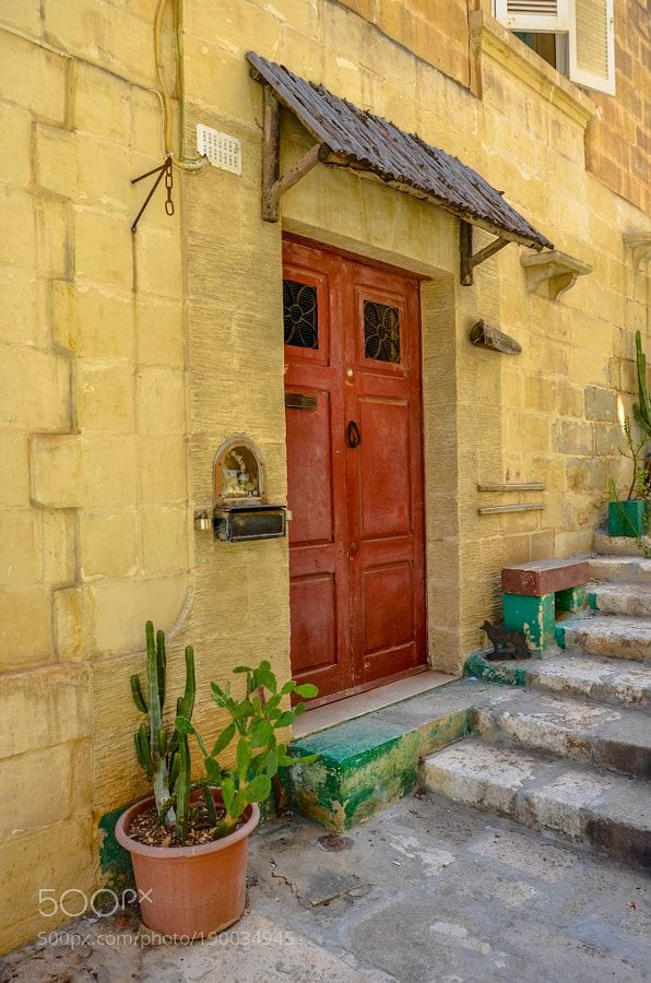 http://500px.com/photo/190034945 Malta Home by chriswtaylor -Valletta Malta.. Tags: islanddoorlightplantshomestepsprivatecactusmediterraneanEuropeVallettaMalta