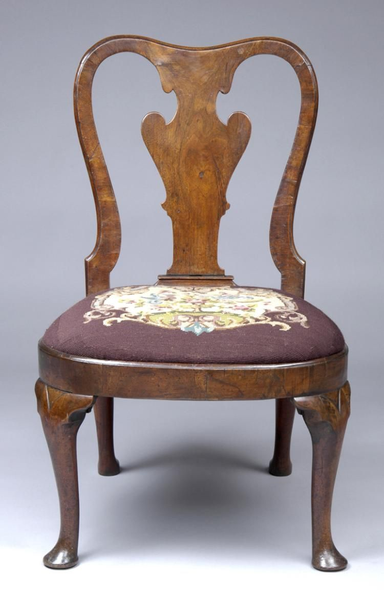 Antique queen anne wingback chair - English Queen Anne Walnut Side Chair With Later Antique Needlework Seat Cover Circa 1710