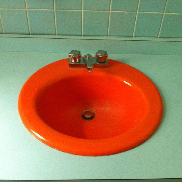 Orange Sink Mint Counter Orange Bathrooms Vintage Interior Design Bathroom Design Inspiration