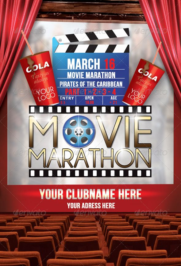 Flyer Template Movie Marathon  Flyers Print Templates  Film