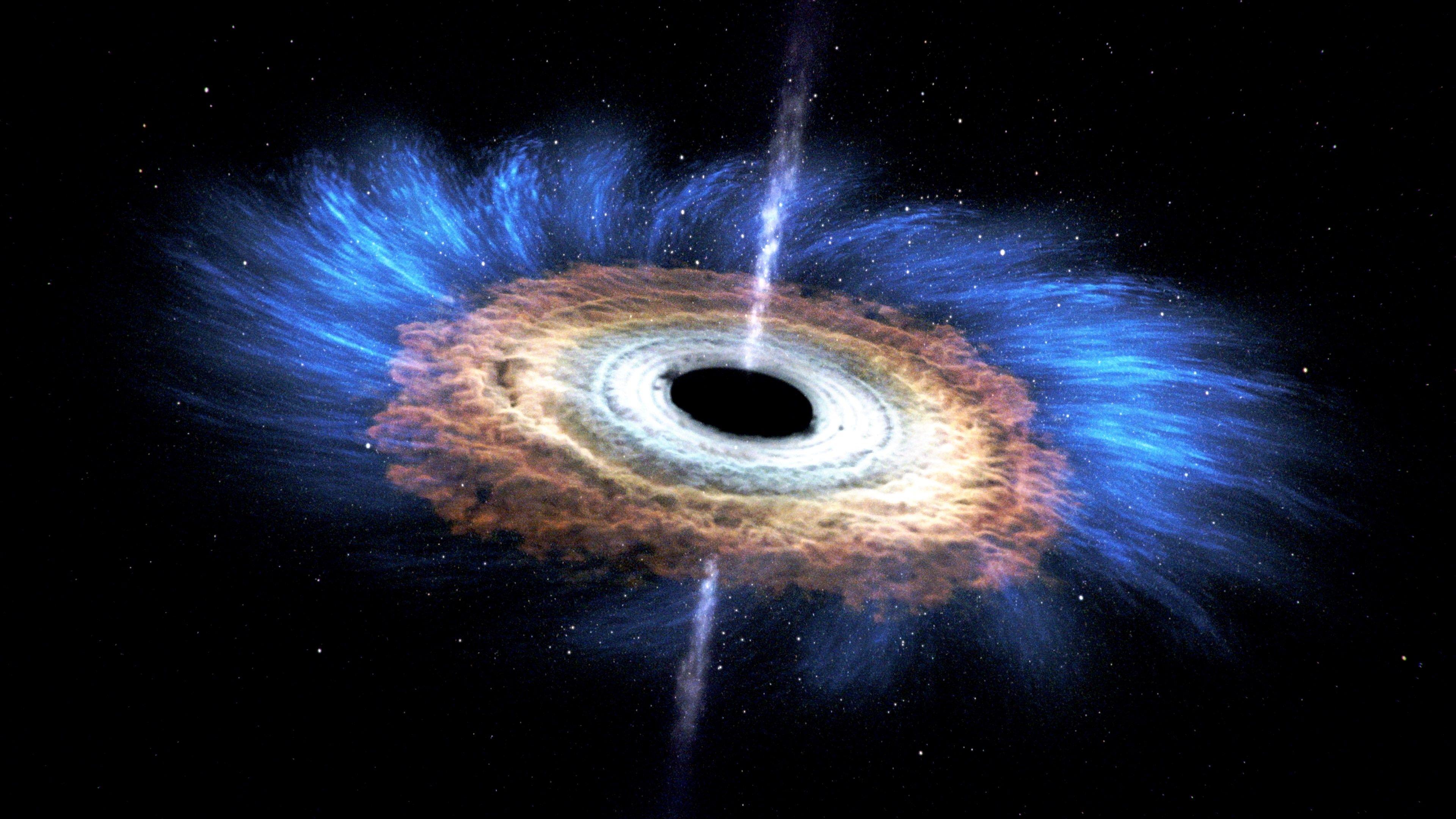 Resultado de imagem para Representação artística que mostra a saída de um buraco negro supermassivo no