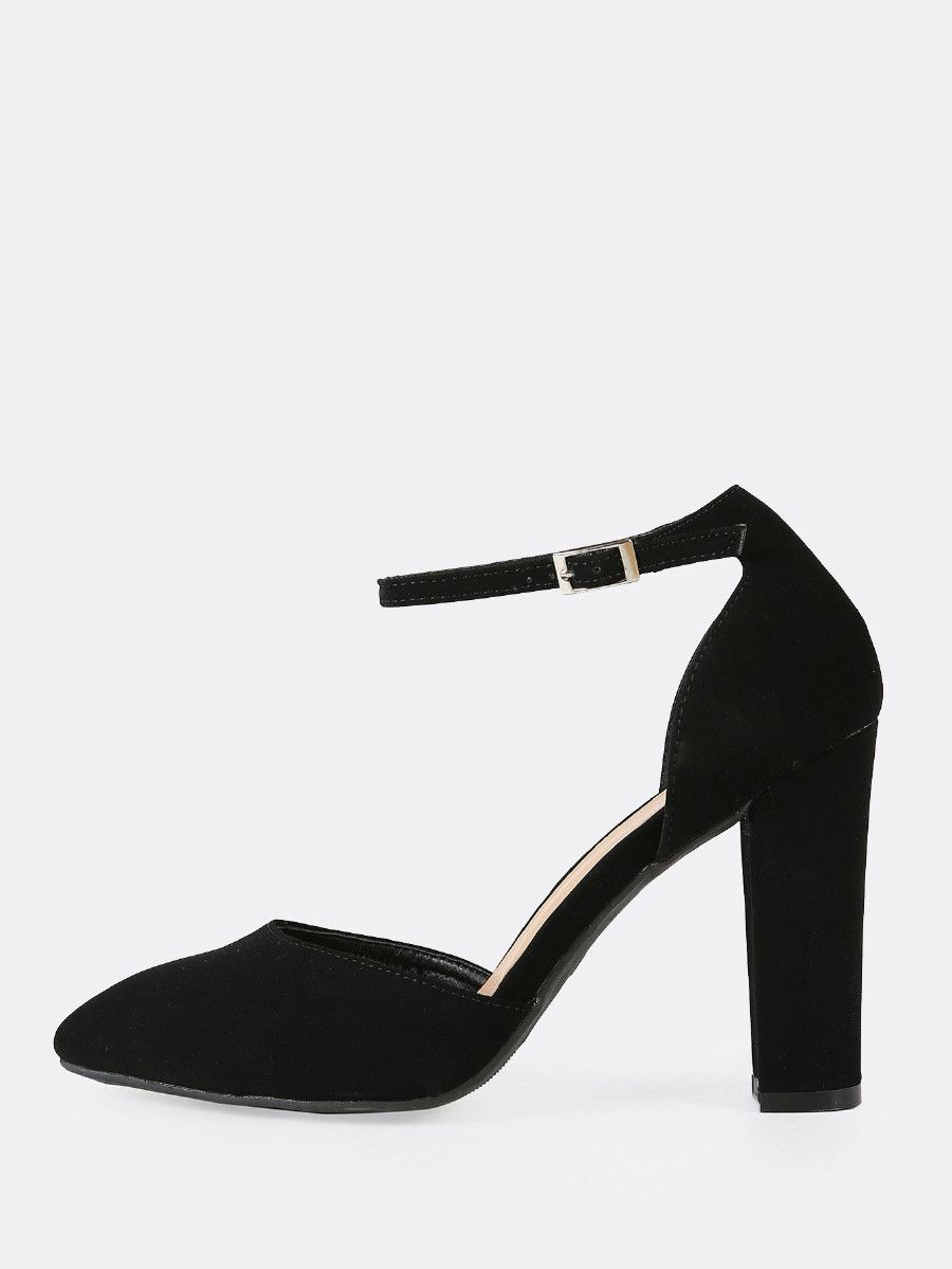 d2568021e3 Faux Suede Pointy Toe Ankle Strap Chunky Heel BLACK -SheIn(Sheinside ...