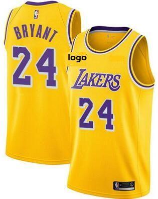 19-20 Men Los Angeles lakers basketball jersey yellow retro shirt Bryant 24