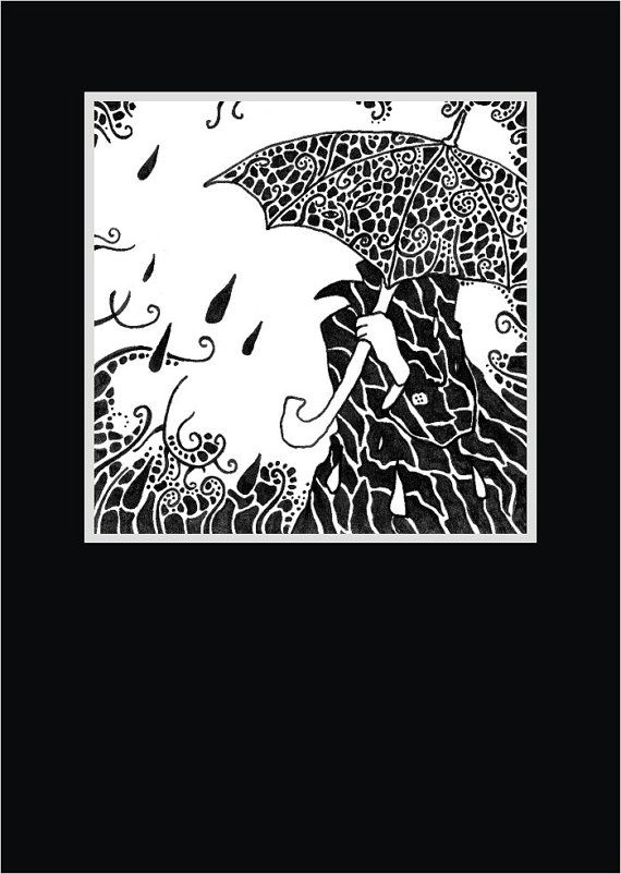 Ink Drawing Line Art Print Black And White Umbrella Rainy Day Spring Rain Patterned Zentangle 8x10 A4