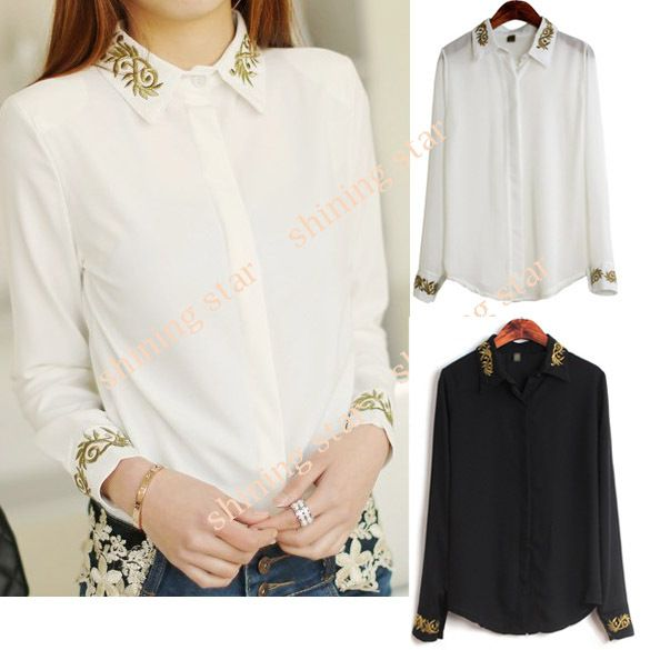 women's Long Sleeve Shirt Gold Thread Embroidery Lapel Collar ...