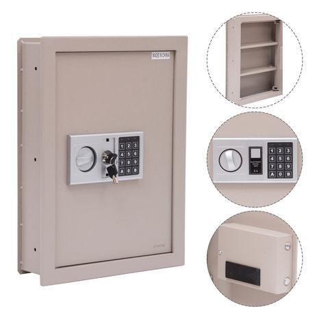 Homcom Flat Superior Electronic Hidden Wall Safe Products In 2019 Wall Safe Locker Storage Wall